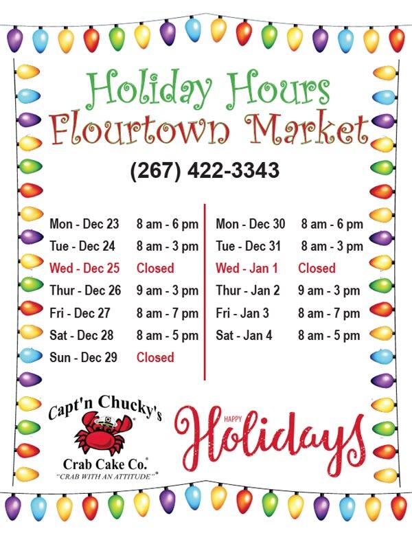 floutown Captn Chuckys christmas hours